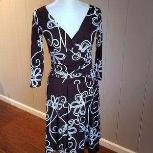 Brown and white V neck dress